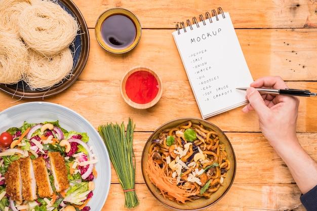 Draufsicht des thailändischen nahrungsmittelkonzeptmodell