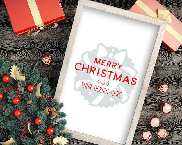 Draufsicht des weihnachtsbilderrahmen-weihnachtsmodells