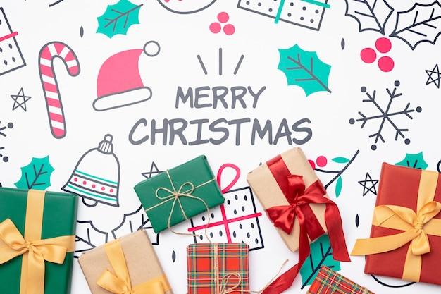 Draufsicht des weihnachtskonzeptes mit geschenken