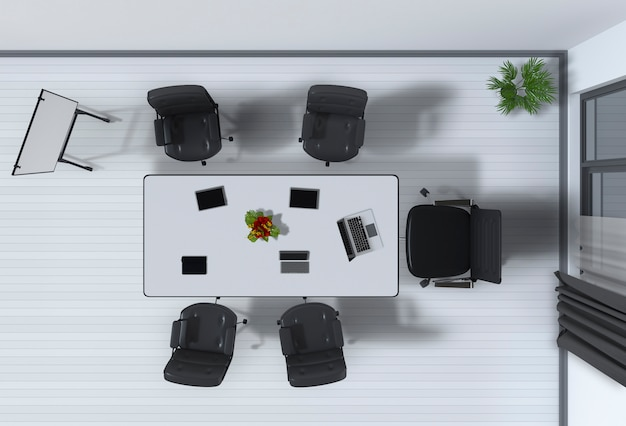 Draufsicht eines bürorauminnenraums des konferenzraums