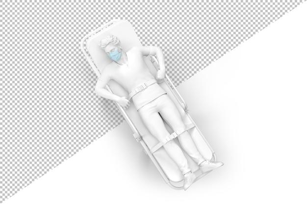 Draufsicht eines patienten in medizinischer maske auf einer krankenwagentrage 3d-darstellung