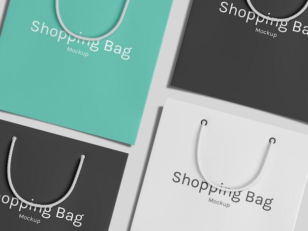 Draufsicht einkaufen papiertüten modell vorlage