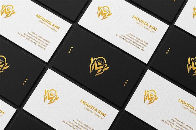 Draufsicht elegantes schwarzweiss-visitenkartenmodell