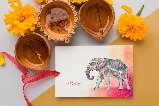 Draufsicht glückliche diwali festival modellkerzen
