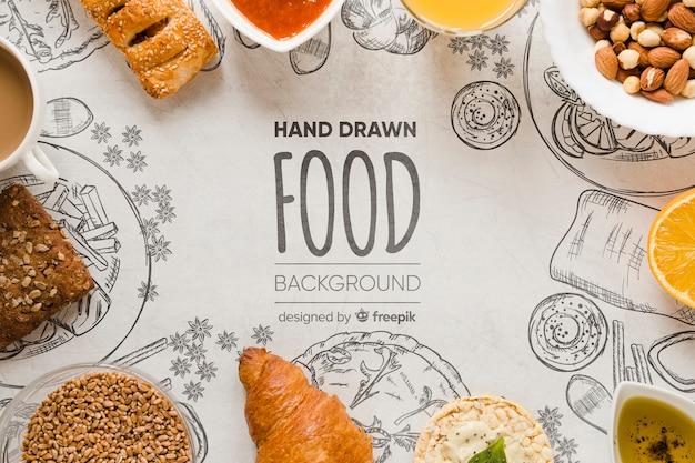Draufsicht-gourmet-snacks zum frühstückskonzept