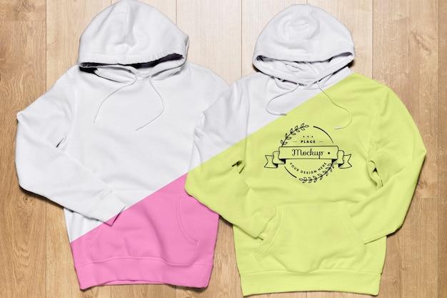 Draufsicht hoodies modell