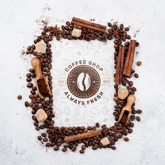Draufsicht kaffeebohnenmodell