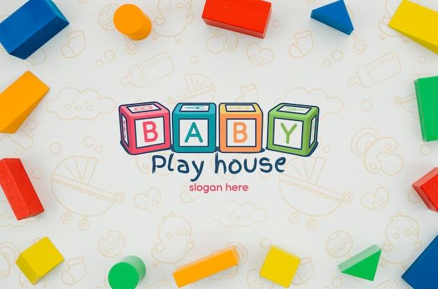 Draufsicht kinderspielzeugrahmenpaket