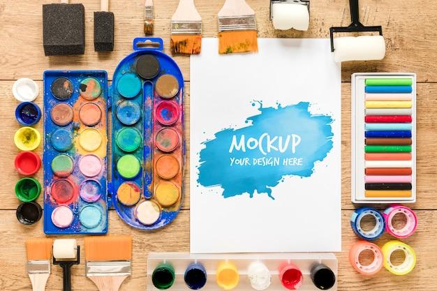 Draufsicht künstlerische aquarell- und farbsammlung