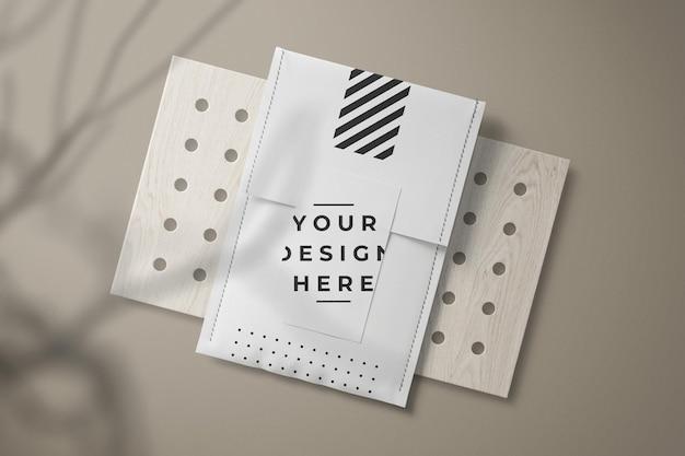 Draufsicht papierumschlagkartenverpackungsmodell