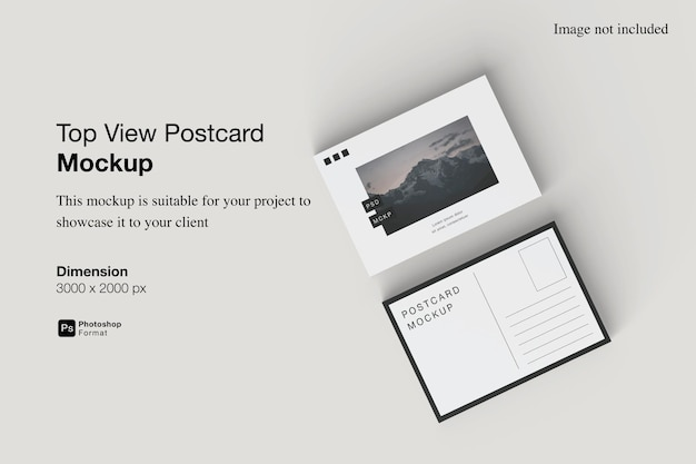 Draufsicht postkarte mockup design isoliert