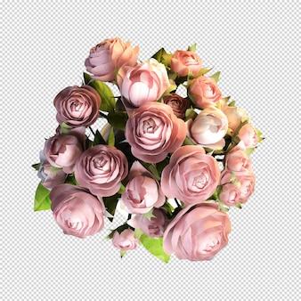 Draufsicht rosenblume in der 3d-darstellung isoliert