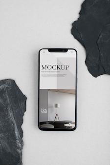 Draufsicht smartphone minimales stillleben