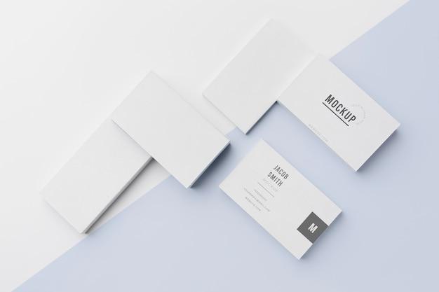 Draufsicht-sortiment der modell-visitenkarte