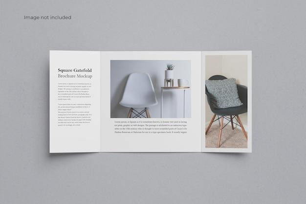 Draufsicht square gate fold brochure mockup