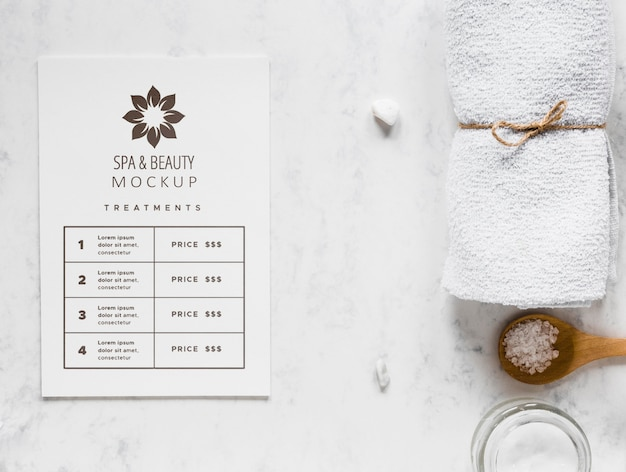 Draufsicht therapeutisches spa-konzept mit modell