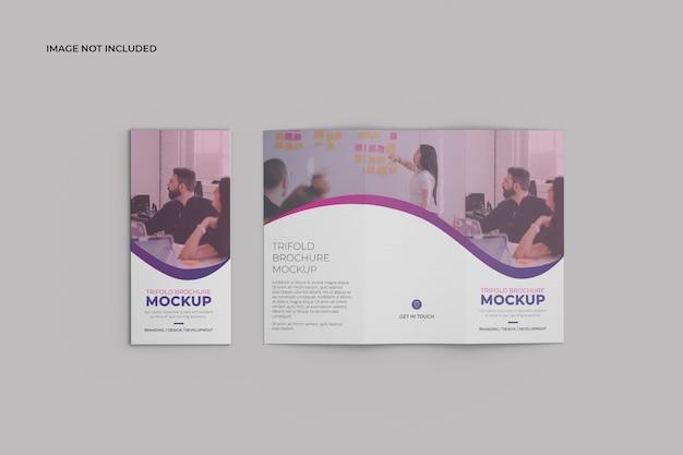 Draufsicht trifold broschüre mockup