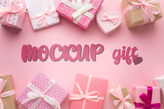 Draufsicht verschiedene geschenkboxen modell