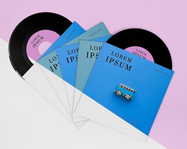 Draufsicht vinylaufzeichnungen modellkomposition