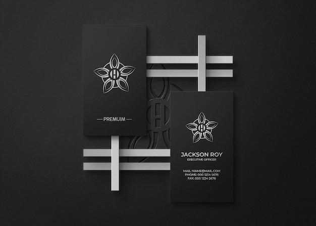 Draufsicht visitenkarten-logo-mockup mit prägung und letterpress-effekt