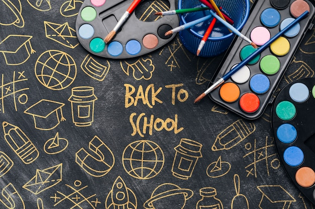 Draufsicht zurück zu schule mit aquarellen