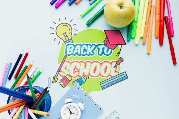 Draufsicht zurück zu schuleschreibtisch