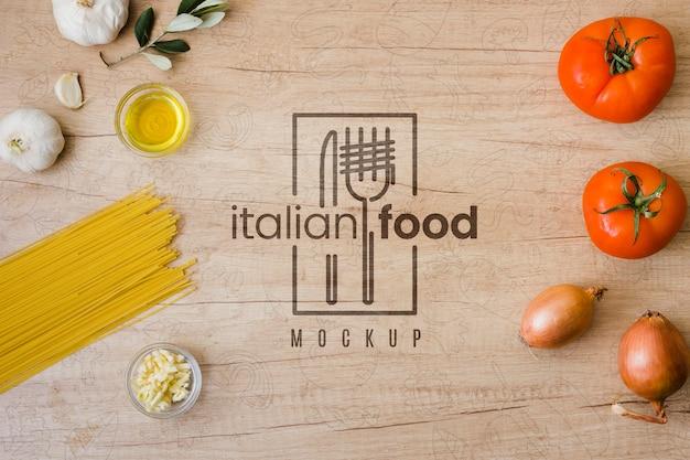 Draufsicht zutaten für italienisches essen