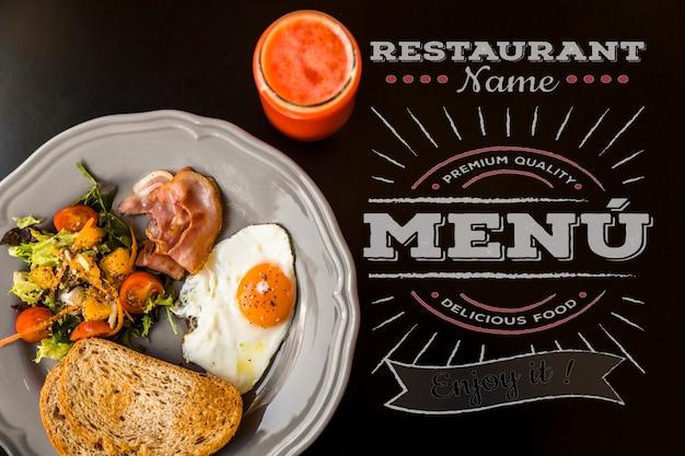 Draufsichtrestaurant-frühstücksmodell
