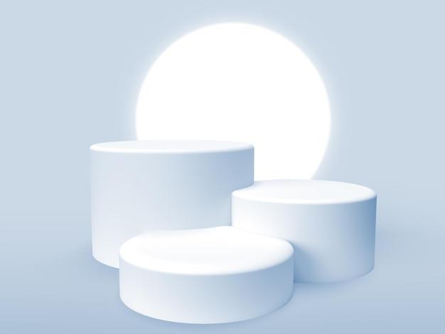 Drei 3d-podien zur produktpräsentation mit lichtkreis