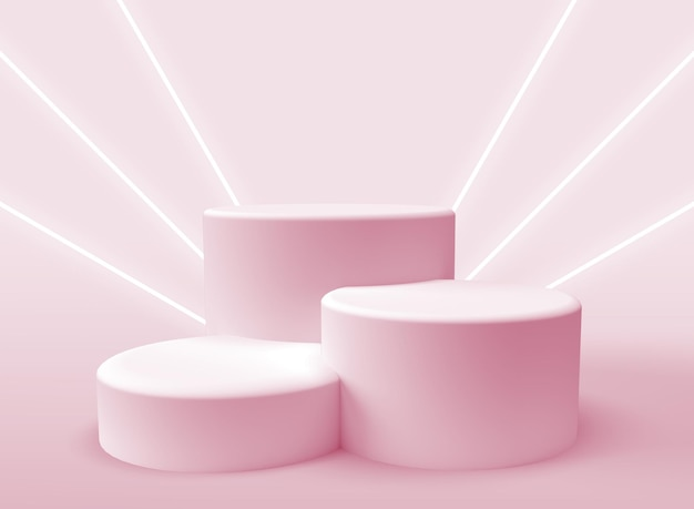 Drei 3d-podien zur produktpräsentation mit lichtstrahlen