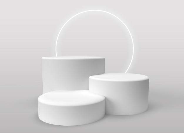 Drei 3d-podien zur produktpräsentation