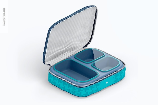 Drei abschnitte lunchbox mockup