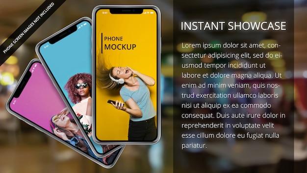 Drei apple iphone x auf bokeh-hintergrund