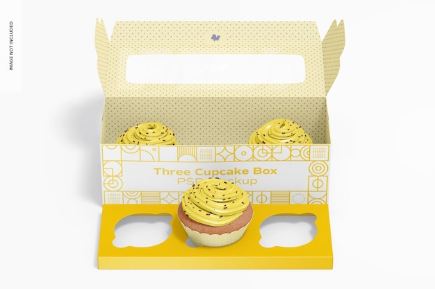 Drei cupcake box mockup, vorderansicht