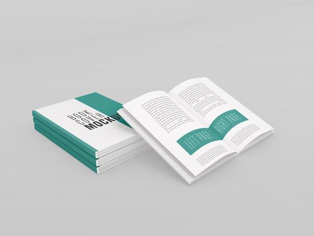 Drei hardcover mit offenem buch mockup