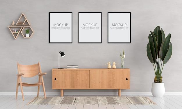 Drei leere fotorahmen für modell