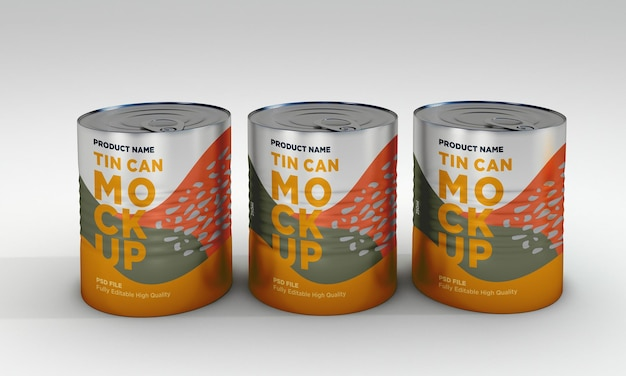 Drei metall lebensmittel zinn verpackung mockup design
