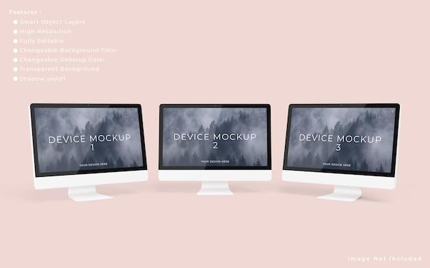 Drei minimalistische pc-desktop-bildschirmmodelle