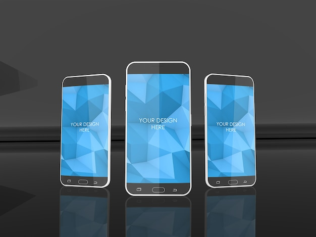 Drei smartphone-bildschirme im reflective black studio