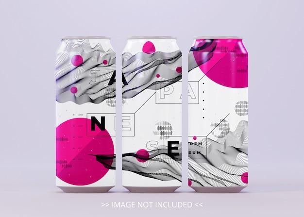Drei stehende getränke können für logo-etikett oder aufkleber-aufkleber verspotten