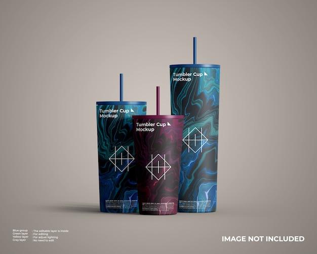 Drei verschiedene größen tumbler cup modell vorderansicht