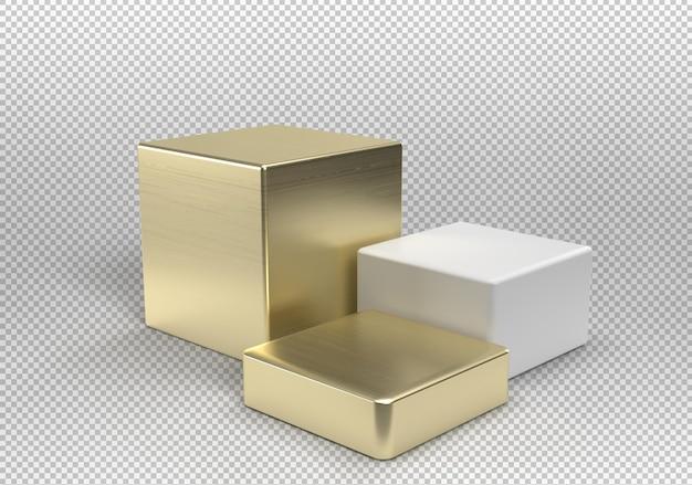 Drei würfelpodeste in gold und weiß