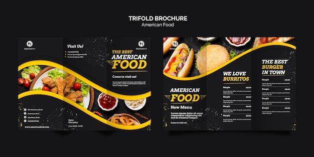 Dreifach gefaltete broschüre amerikanisches essen