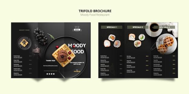 Dreifach gefaltete broschüre zu moody food