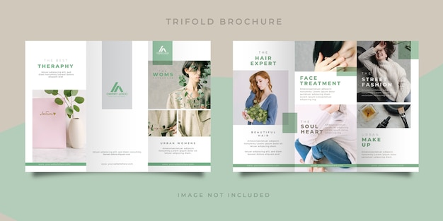 Dreifach gefaltete broschüre zur hautpflege für mode