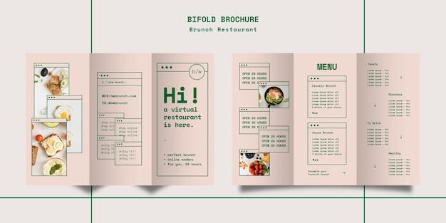 Dreifach gefaltete broschürenschablone des brunch-restaurants