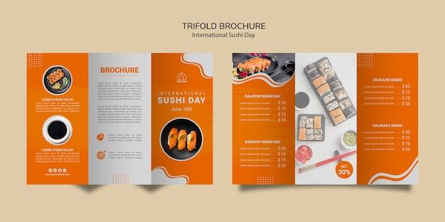 Dreifach gefaltete broschürenschablone des internationalen sushi-tages