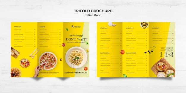 Dreifach gefaltete broschürenschablone des italienischen lebensmittelkonzepts