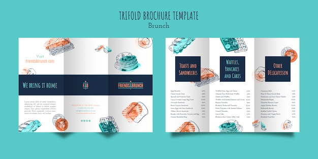 Dreifach gefaltete broschürenvorlage für brunch-restaurant