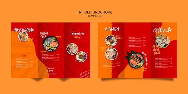 Dreifach gefaltete menüvorlage für asiatisches oder japanisches restaurant